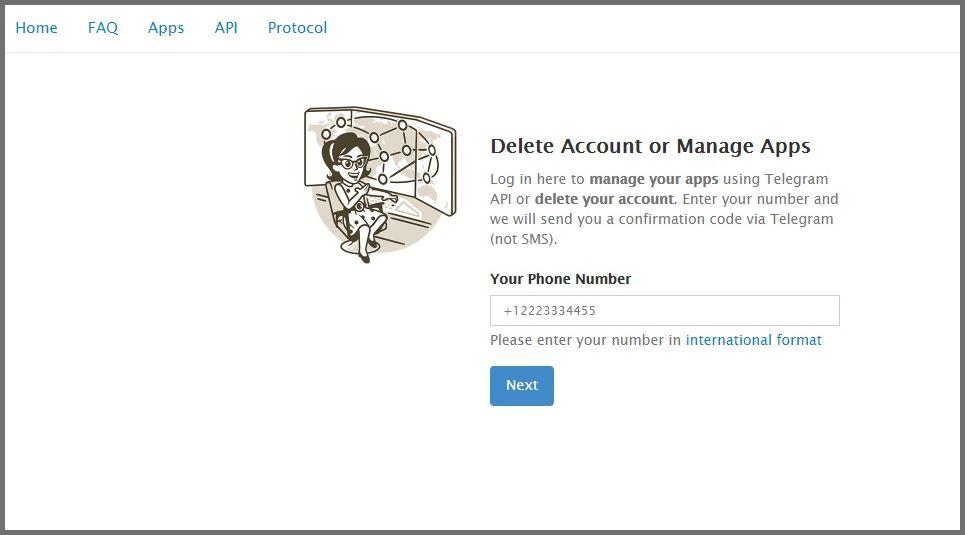 حذف دستی اکانت تلگرام
